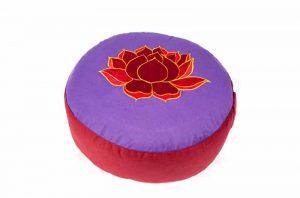 Yogi & Yogini Meditatiekussen Rond Katoen Violet - Lotus - 33 x 17 cm