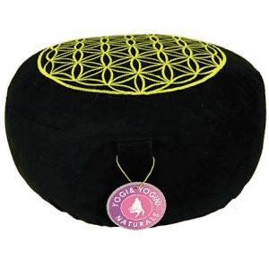 Yogi & Yogini Meditatiekussen Rond Katoen Zwart - Levensbloem - 33 x 17 cm
