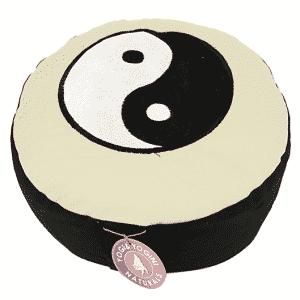 Yogi & Yogini Meditatiekussen Rond Katoen Zwart Wit - Yin Yang - 33 x 17 cm