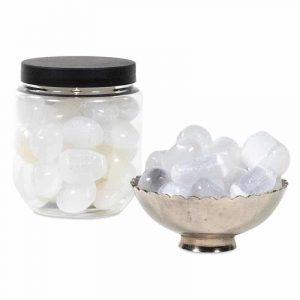 Seleniet Knuffelstenen in Transparante Pot