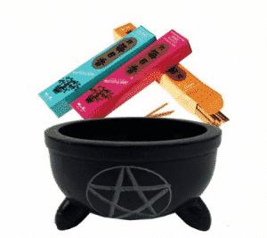 Wierookbakje Zwart Zeepsteen Pentagram met Steentjes