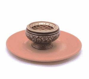 Wierookbrander Messing Terracotta Schaal (7,5 x 5,5 cm)