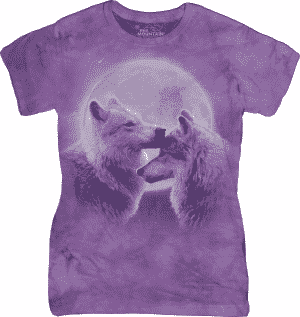 Ladies T-Shirt Mountain Artwear Loving Wolves