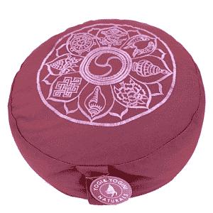 Yogi & Yogini Meditatiekussen Rond Katoen Aubergine - 8 Symbolen - 33 x 16 cm
