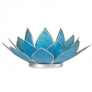 Lotus Sfeerlicht Blauw 5e Chakra Zilverrand