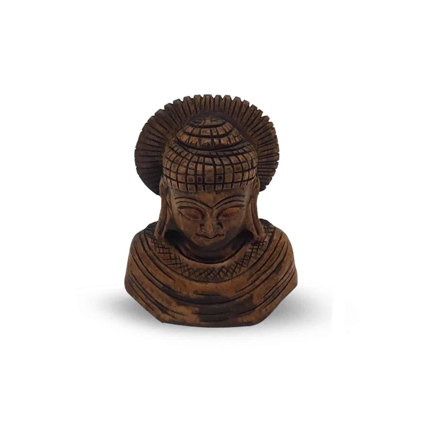 Spiru Boeddha Hoofd Hout (7 x 5 cm)