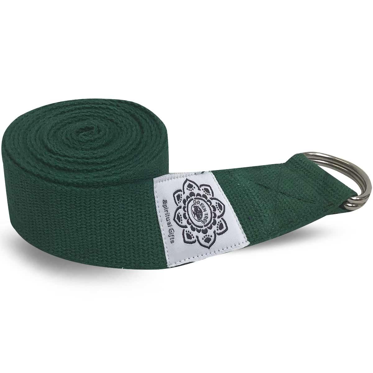 Spiru Katoenen Yoga Riem Groen met D-Ring - 270 cm