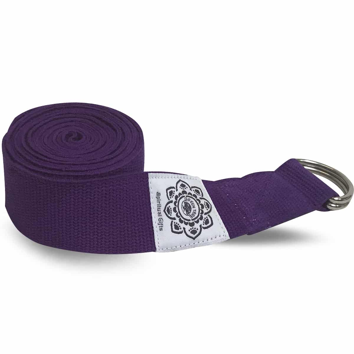 Spiru Katoenen Yoga Riem Paars met D-Ring - 270 cm