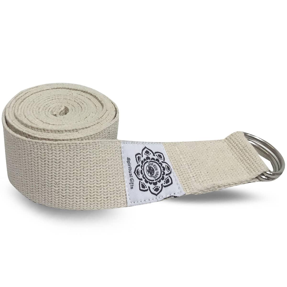 Spiru Katoenen Yoga Riem Wit met D-Ring - 270 cm