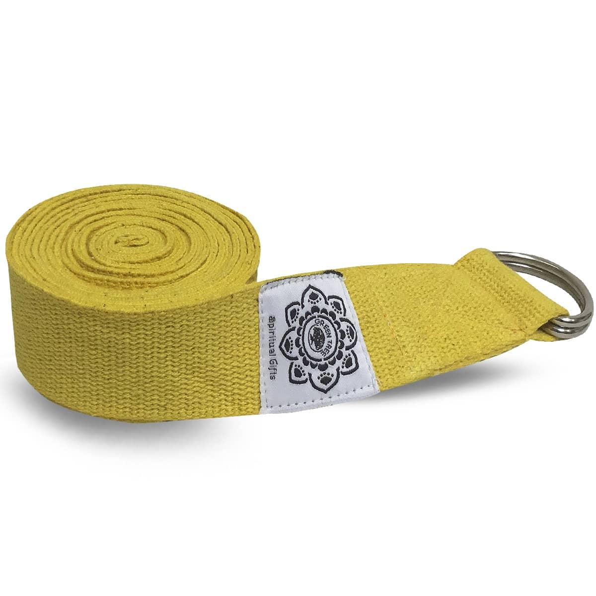 Spiru Katoenen Yoga Riem Geel met D-Ring - 270 cm