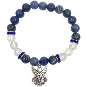 Armband Sodaliet en Bergkristal met Bedel van een Engel (Elastisch)