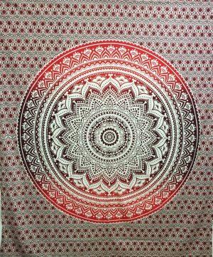 Mandala Wandkleed Vierkant Lotus Rood/Bruin (228 x 228 cm)
