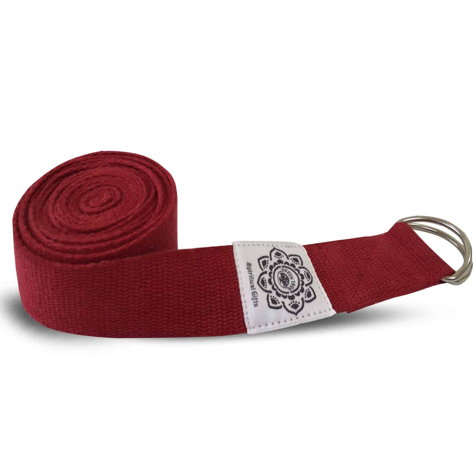 Spiru Katoenen Yoga Riem Rood met D-Ring - 270 cm