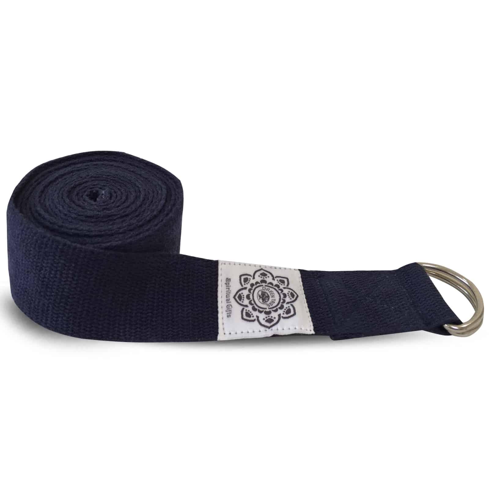 Spiru Katoenen Yoga Riem Donkerblauw met D-Ring - 270 cm
