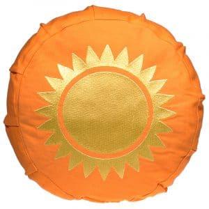 Yogi & Yogini Meditatiekussen Katoen Rond Oranje - Zon -  23 x 8 cm