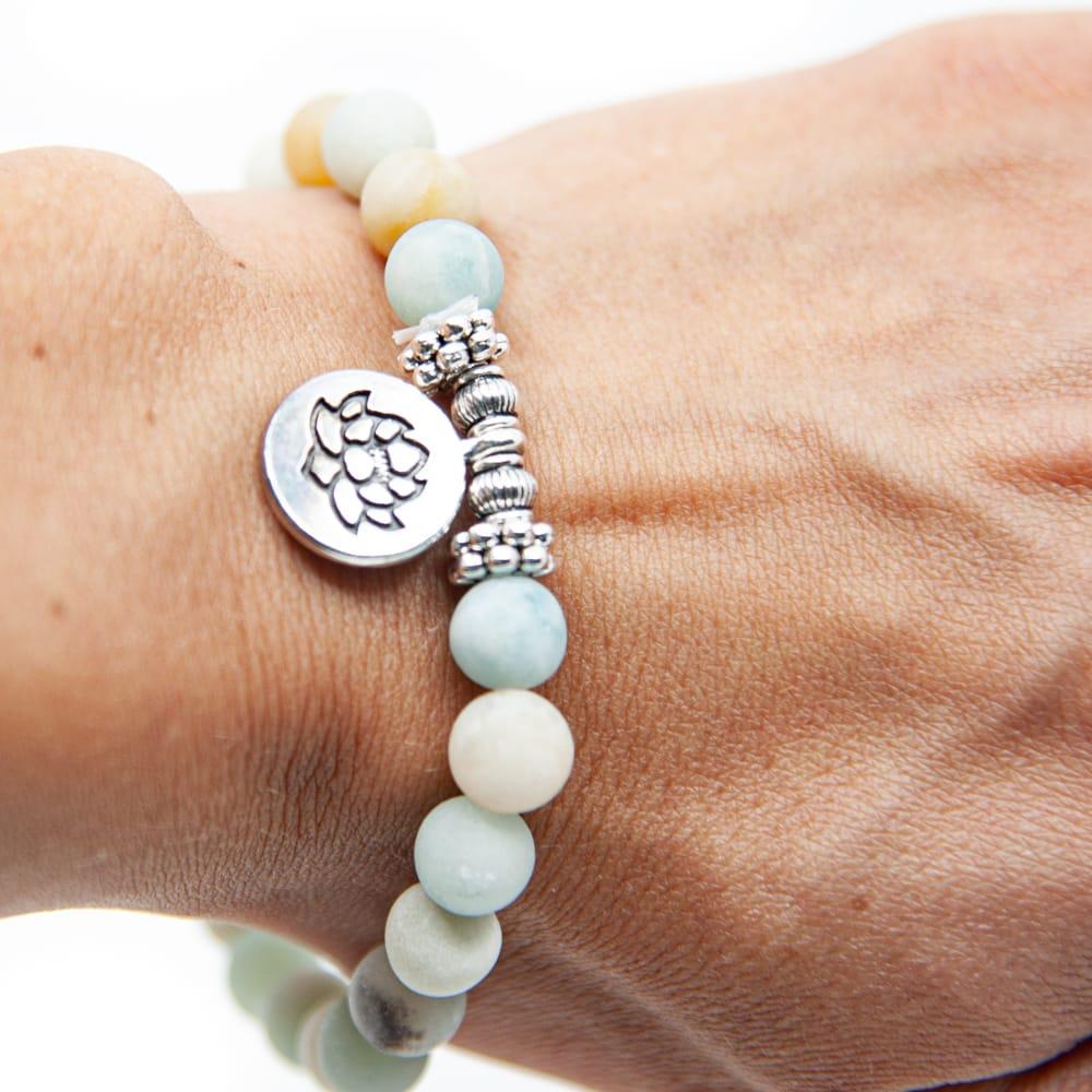 Mala Armband Amazoniet Elastisch met Lotus