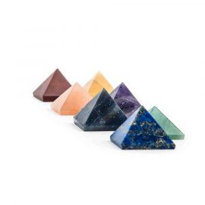 Set van 7 Piramidevormige Stenen in de Chakrakleuren