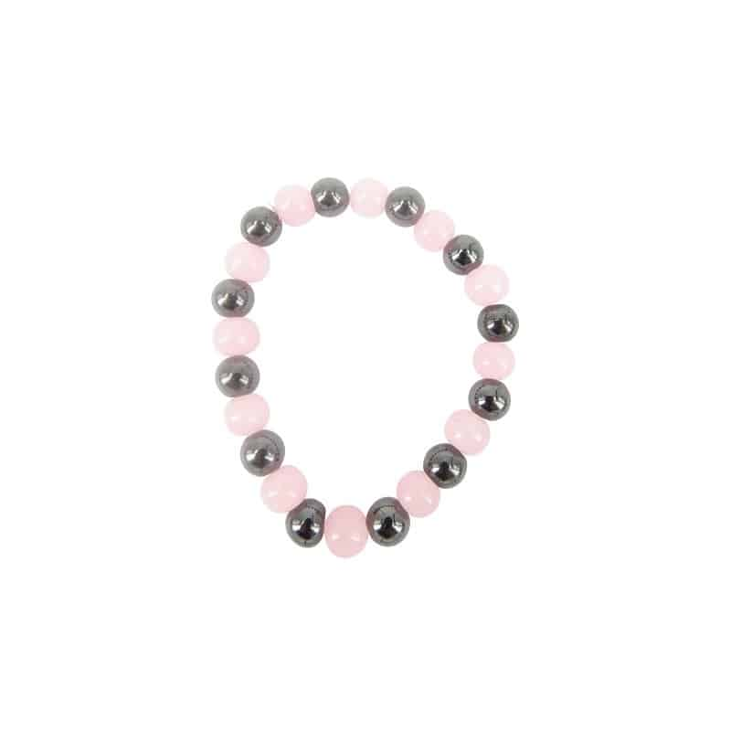 Magneetarmband Hematiet – Agaat Roze  (8 mm)