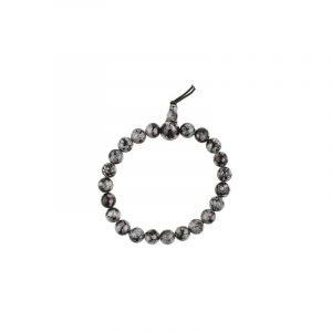 Powerbead Armband Obsidiaan Sneeuwvlok