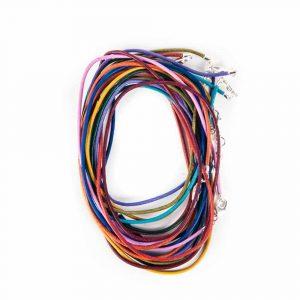 Lederen Halsketting met Karabijnslotje Multicolour