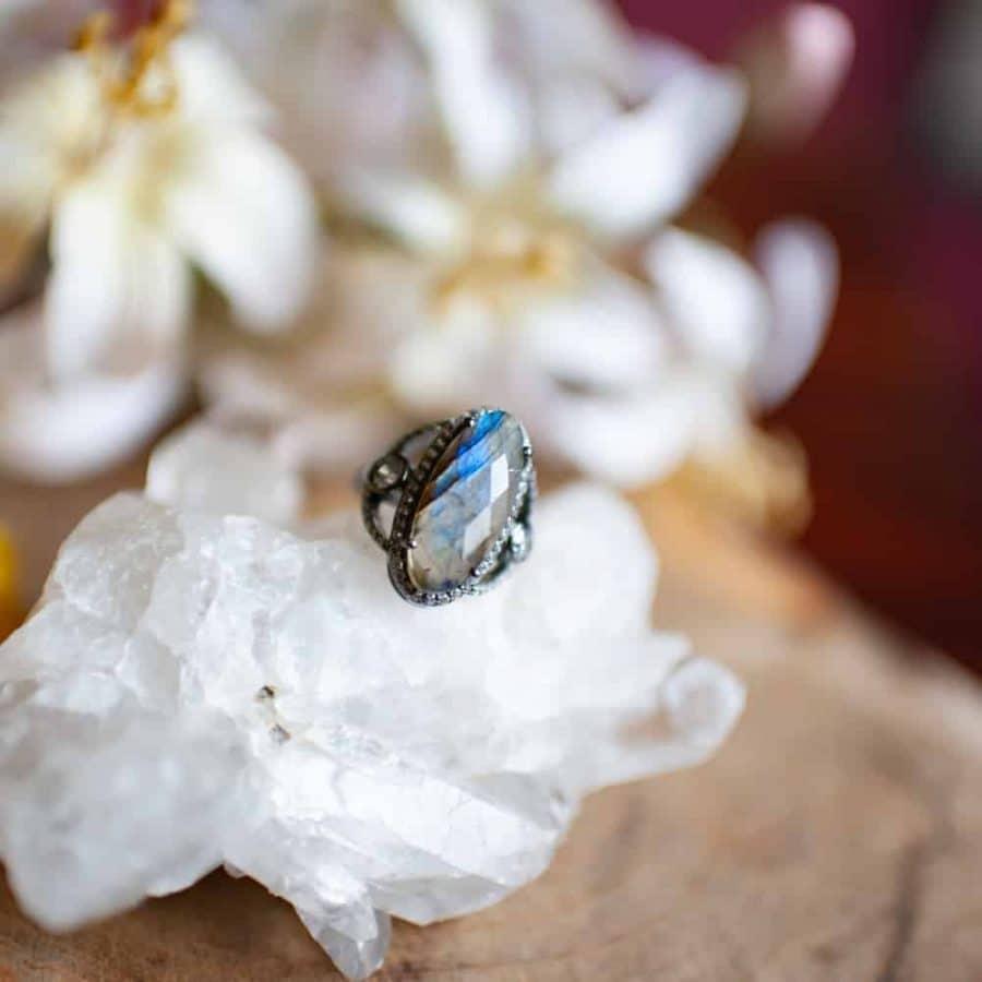 labradoriet edelstenen ring 925 zilver