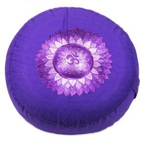 Yogi & Yogini Meditatiekussen Katoen Rond Paars - 7e Chakra Sahasrara - 33 x 15 cm