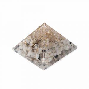Orgoniet Piramide Regenboog Maansteen & Bergkristal met Engel (70 mm)