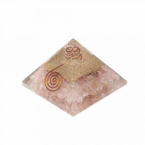 Orgone Piramide Rozenkwarts Koperen Spiraal (70 mm)