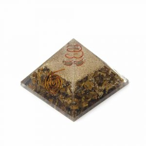 Orgone Piramide Tijgeroog met Bergkristal Punt