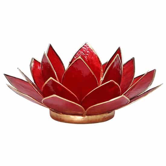 rode lotus kaarshouder met gouden rand