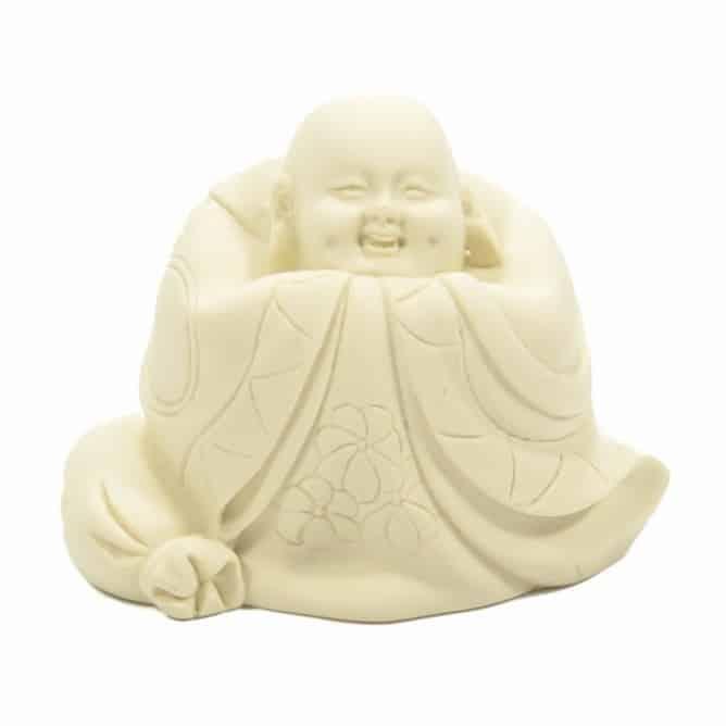 Spiru Boeddha Beeld Polystone Wit (8 cm)