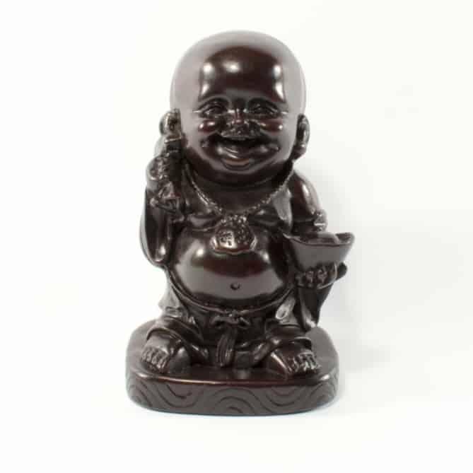Spiru Happy Boeddha Beeld Polyresin Rood - 16 cm