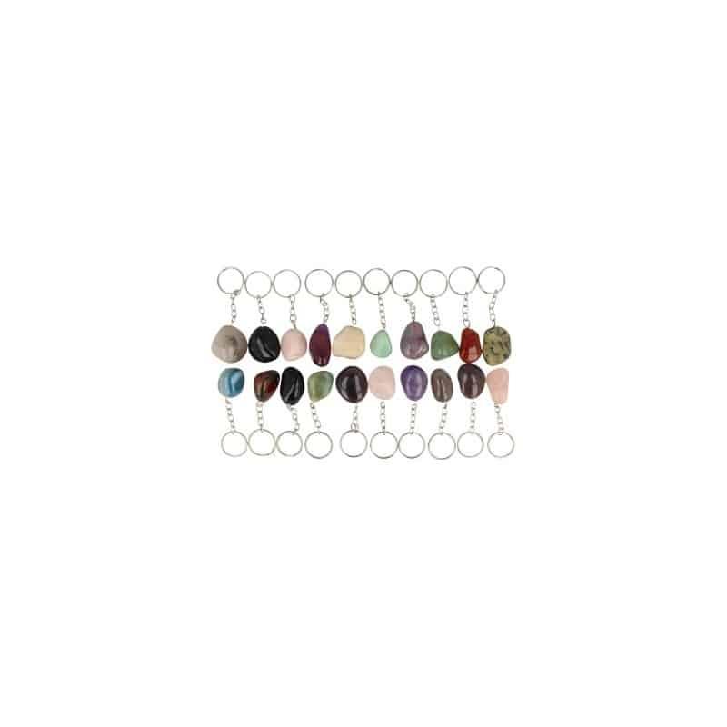 Set van 10 verschillende edelsteen sleutelhangers in grote maat. de stenen zijn ca. 3   4 cm groot en diverse ...