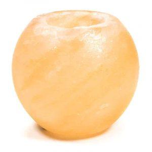 Zoutsteen Waxinelichthouder Oranje/Roze Bol (ca. 650 gram) 8 x 5 x 8 cm