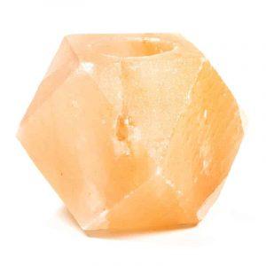 Zoutsteen Waxinelichthouder Oranje/Roze Diamant (ca. 1200 gram) 9 x 9 x 9 cm