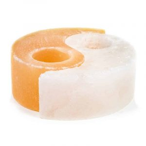 Zoutsteen Waxinelichthouder Oranje/wit Rond Yin Yang (1600 - 1800 gram) 14.5 x 15.5 x 5 cm
