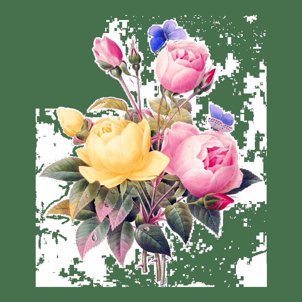boeket bloemen met vlinders