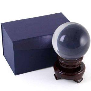 Kristallen Bol met Houten Standaard (8 cm)