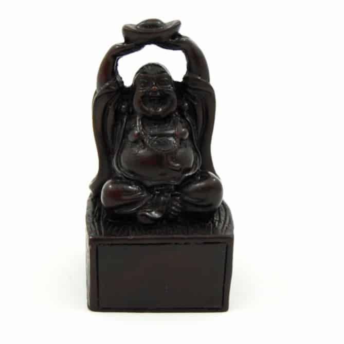 Spiru Happy Boeddha Beeld met Parel Polyresin Zwart - 10 x 6 x 4 cm