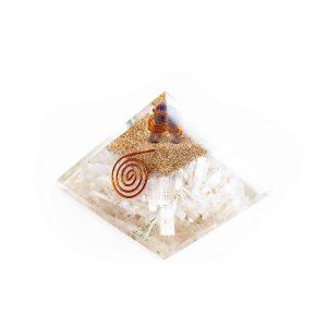 Orgoniet Piramide – Seleniet met Amethist Kristal – Groot