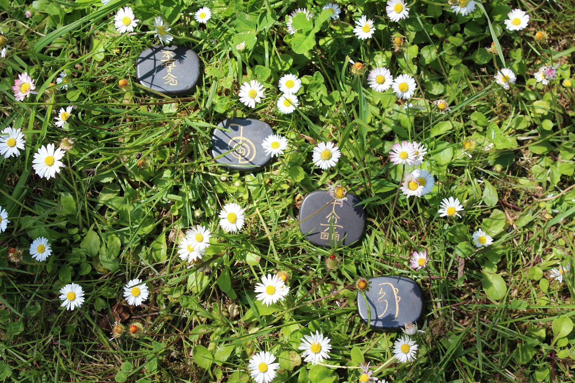 reiki symbolen stenen in gras madeliefjes