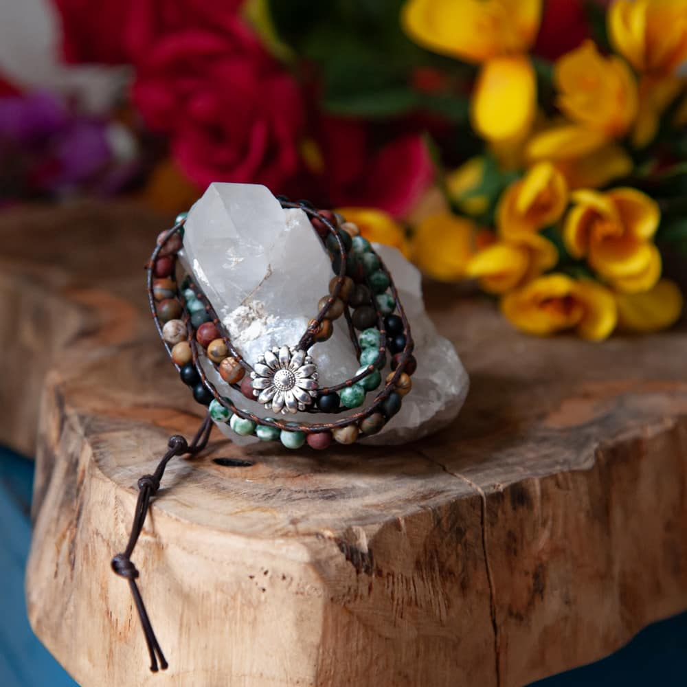 wikkel armband wrap bracelet bloem