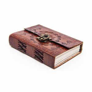 Handgemaakt Leren Notieboekje met Slotje Voorkant