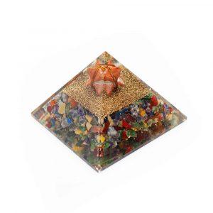 Orgone Piramide Chakra Jaspis met Jaspis Merkaba (70 mm)