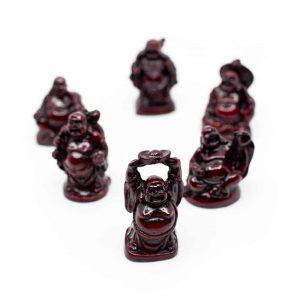Boeddha's Rood (Set van Zes Geluksboeddha Mini-Beeldjes) - 5 cm