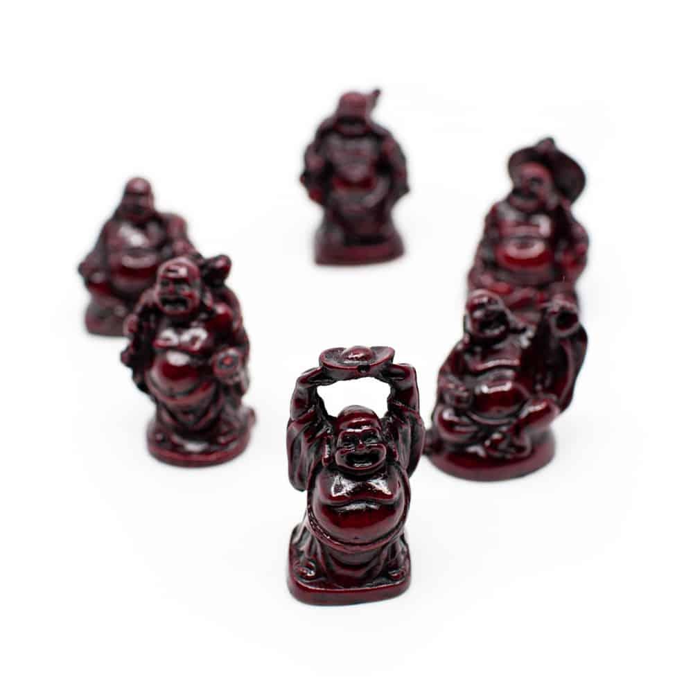 Spiru Happy Boeddha Beeld Polyresin Rood - set van 6 - ca. 5 cm