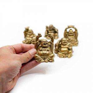 6 Geluksboeddha Mini-Beeldjes Zittend – Goudkleurig – 7 cm