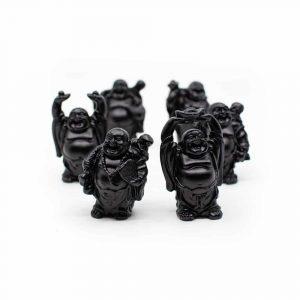 6 Geluksboeddha Mini-Beeldjes Staand - Zwart - 7 cm