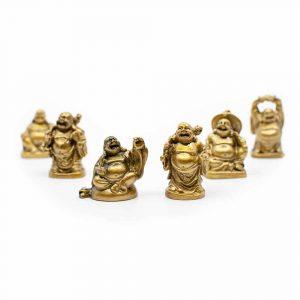Happy Boeddha Beeld Polyresin Goudkleurig - set van 6 - ca. 5 cm