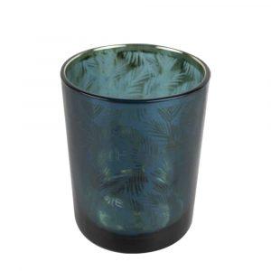 Waxinelichthouder Petrol Palmblad (12 x 10 cm)